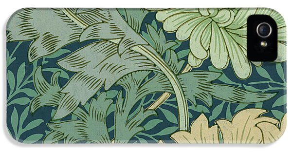 Arts And Crafts Movement iPhone 5 Cases - William Morris Wallpaper Sample with Chrysanthemum iPhone 5 Case by William Morris
