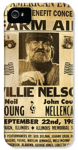 Willie Nelson Neil Young 1985 Farm Aid Poster IPhone 5 / 5s Case by John Stephens