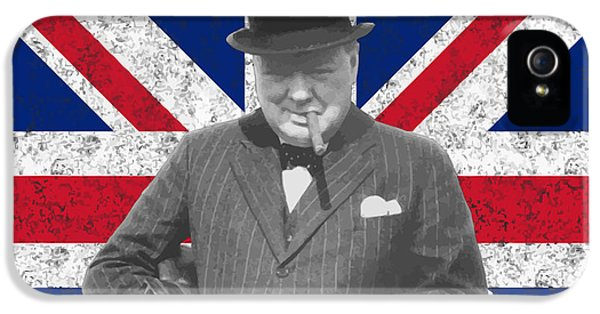 British iPhone 5 Cases - Winston Churchill and His Flag iPhone 5 Case by War Is Hell Store