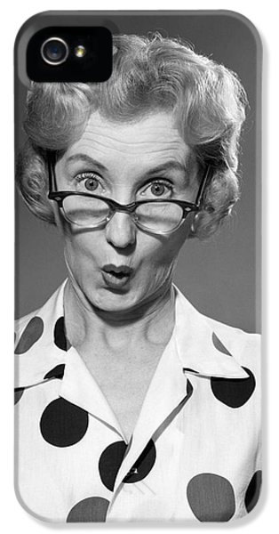 Woman Looking Over Her Glasses IPhone 5 / 5s Case by Debrocke/ClassicStock