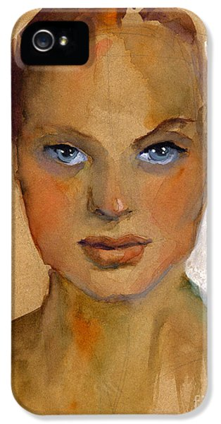 Face iPhone 5 Cases - Woman portrait sketch iPhone 5 Case by Svetlana Novikova