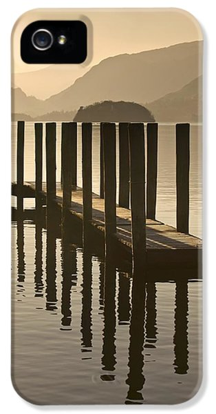 Colour Image iPhone 5 Cases - Wooden Dock In The Lake At Sunset iPhone 5 Case by John Short