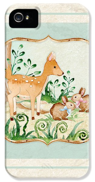 Woodland Fairy Tale - Deer Fawn Baby Bunny Rabbits In Forest IPhone 5 / 5s Case by Audrey Jeanne Roberts