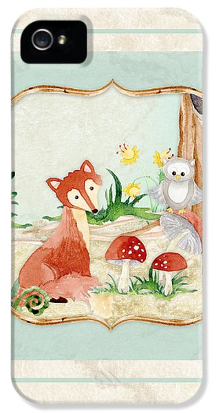 Fox iPhone 5 Cases - Woodland Fairy Tale - Fox Owl Mushroom Forest iPhone 5 Case by Audrey Jeanne Roberts