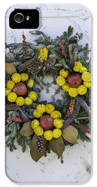 Potting Shed iPhone 5 Cases - Wreath at Colonial Nursery in Williamsburg iPhone 5 Case by Teresa Mucha