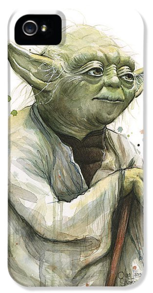 Yoda iPhone 5 Cases - Yoda Watercolor iPhone 5 Case by Olga Shvartsur