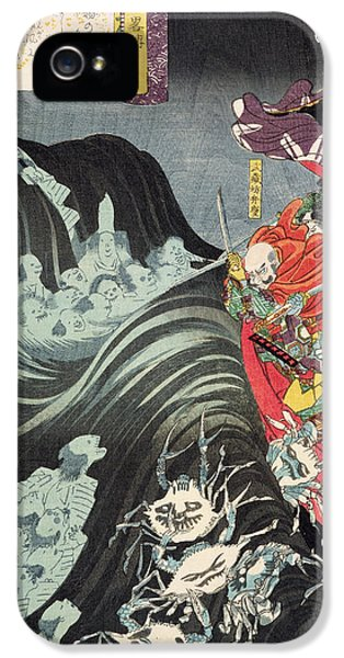 Ghost iPhone 5 Cases - Yoshitsune with Benkei and Other Retainers in their Ship Beset by the Ghosts of Taira iPhone 5 Case by Utagawa Kuniyoshi