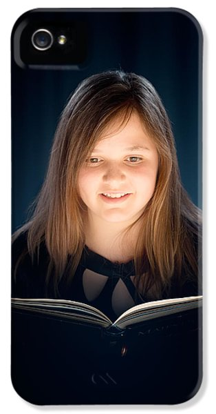 Caucasian iPhone 5 Cases - Young girl reading a book iPhone 5 Case by Johan Swanepoel