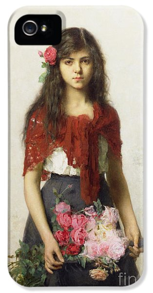Red iPhone 5 Cases - Young girl with blossoms iPhone 5 Case by Alexei Alexevich Harlamoff