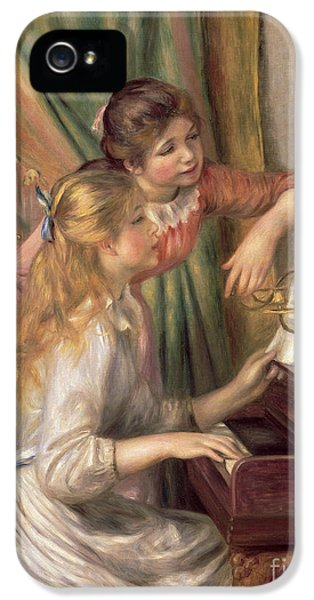 Curtain iPhone 5 Cases - Young Girls at the Piano iPhone 5 Case by Pierre Auguste Renoir