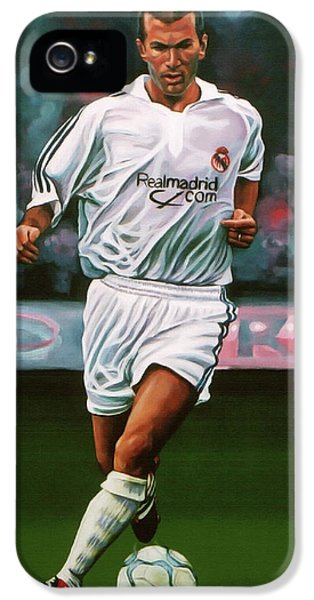 Zidane At Real Madrid Painting IPhone 5 / 5s Case by Paul Meijering