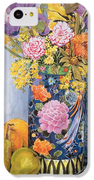 Iris And Pinks In A Japanese Vase With Pears IPhone 5c Case by Joan Thewsey