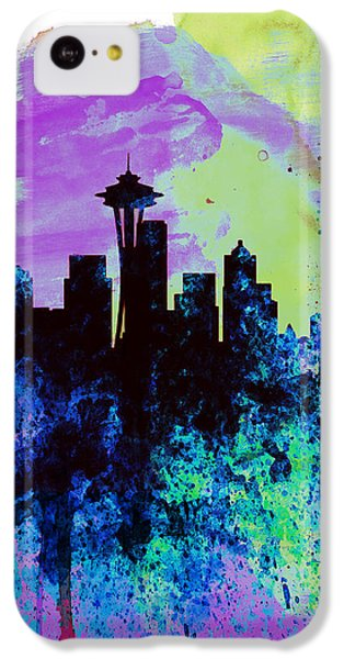 Seattle Watercolor Skyline 1 IPhone 5c Case by Naxart Studio