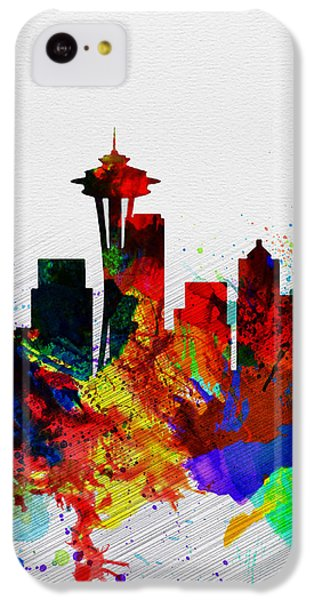 Seattle Watercolor Skyline 2 IPhone 5c Case by Naxart Studio