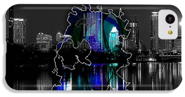 Austin Texas Map And Skyline Watercolor IPhone 5c Case by Marvin Blaine