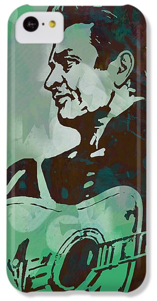 Johnny Cash - Stylised Etching Pop Art Poster IPhone 5c Case by Kim Wang
