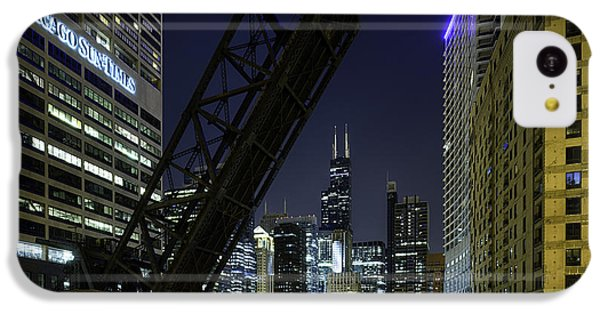 Kinzie Street Railroad Bridge At Night IPhone 5c Case by Sebastian Musial