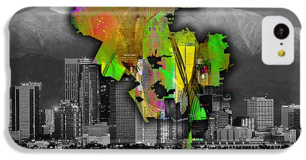 Los Angeles Map And Skyline Watercolor IPhone 5c Case by Marvin Blaine