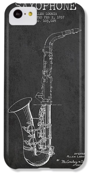 Saxophone Patent Drawing From 1937 - Dark IPhone 5c Case by Aged Pixel