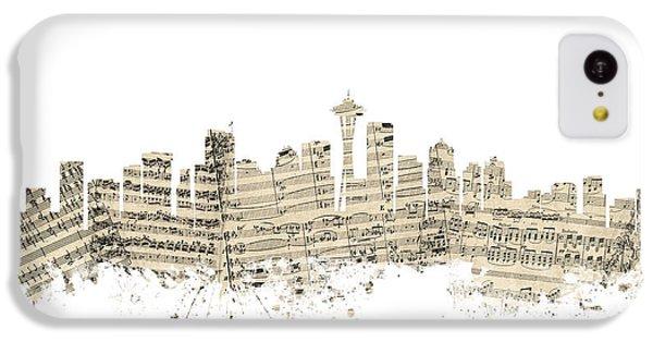 Seattle Washington Skyline Sheet Music Cityscape IPhone 5c Case by Michael Tompsett