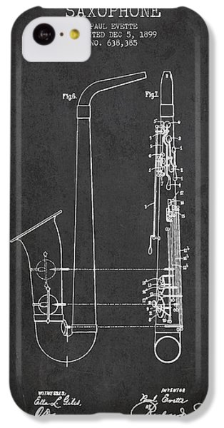 Saxophone Patent Drawing From 1899 - Dark IPhone 5c Case by Aged Pixel