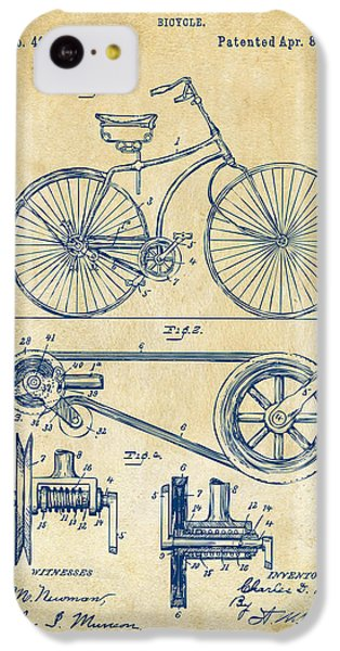 1890 Bicycle Patent Artwork - Vintage IPhone 5c Case by Nikki Marie Smith