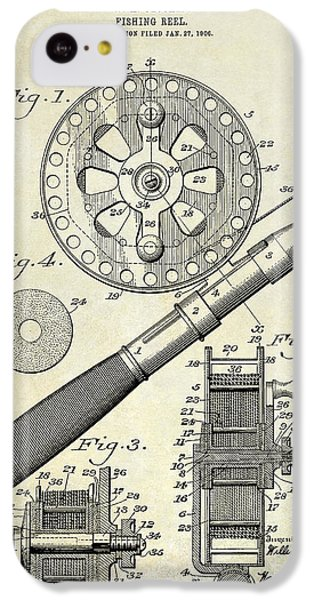1906 Fishing Reel Patent Drawing IPhone 5c Case by Jon Neidert