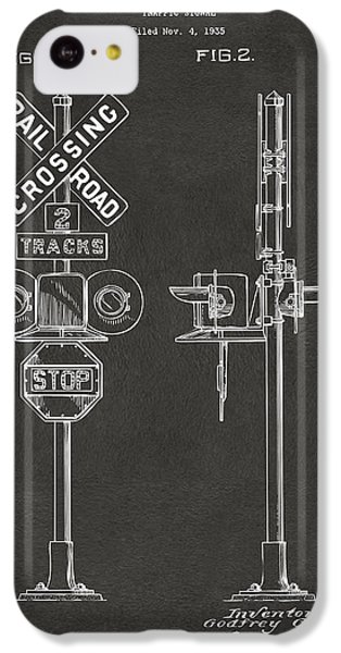 1936 Rail Road Crossing Sign Patent Artwork - Gray IPhone 5c Case by Nikki Marie Smith