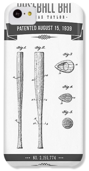 1939 Baseball Bat Patent Drawing IPhone 5c Case by Aged Pixel