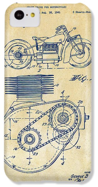 1941 Indian Motorcycle Patent Artwork - Vintage IPhone 5c Case by Nikki Marie Smith