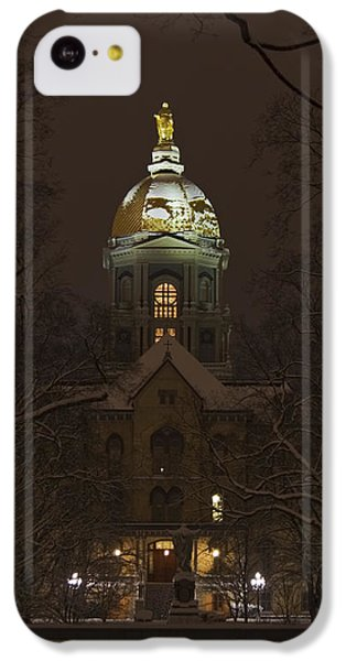 Notre Dame Golden Dome Snow IPhone 5c Case by John Stephens
