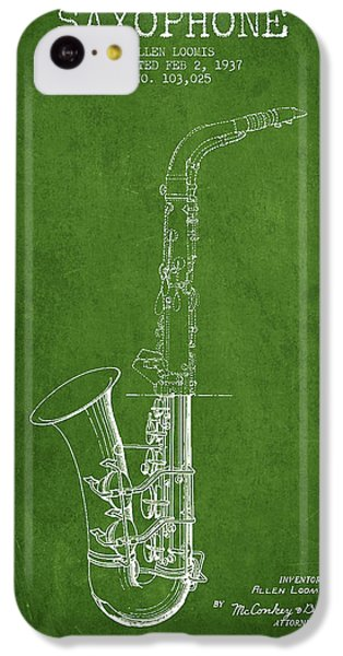 Saxophone Patent Drawing From 1937 - Green IPhone 5c Case by Aged Pixel