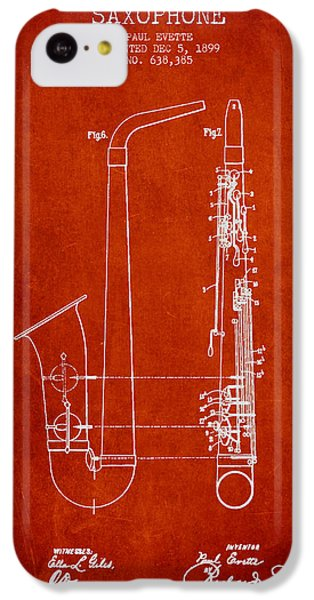 Saxophone Patent Drawing From 1899 - Red IPhone 5c Case by Aged Pixel