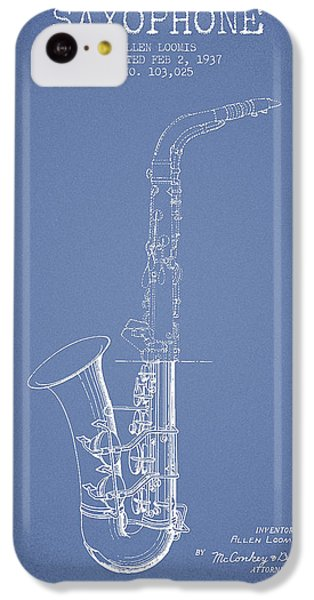 Saxophone Patent Drawing From 1937 - Light Blue IPhone 5c Case by Aged Pixel