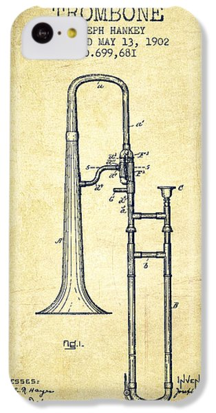 Trombone Patent From 1902 - Vintage IPhone 5c Case by Aged Pixel
