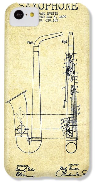 Saxophone Patent Drawing From 1899 - Vintage IPhone 5c Case by Aged Pixel