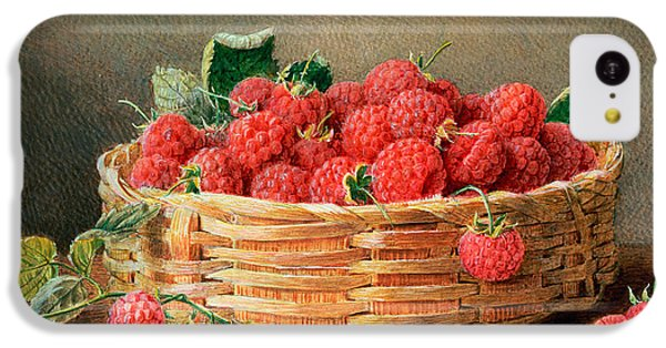 A Still Life Of Raspberries In A Wicker Basket  IPhone 5c Case by William B Hough