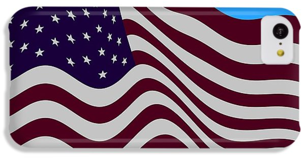 Abstract Burgundy Grey Violet 50 Star American Flag Flying Cropped IPhone 5c Case by L Brown