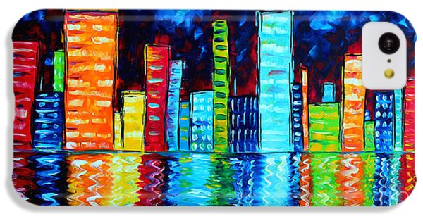 Abstract Art Landscape City Cityscape Textured Painting City Nights II By Madart IPhone 5c Case by Megan Duncanson