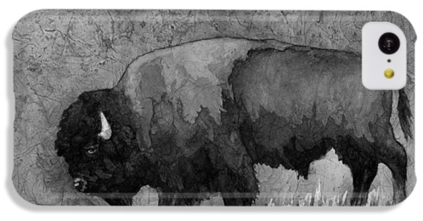 Monochrome American Buffalo 3  IPhone 5c Case by Hailey E Herrera