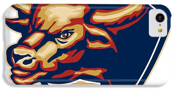 Angry Bull Head Crest Retro IPhone 5c Case by Aloysius Patrimonio