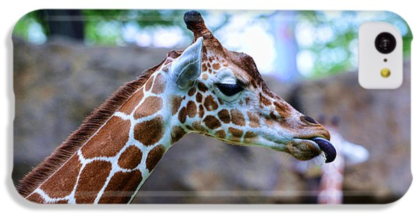 Animal - Giraffe - Sticking Out The Tounge IPhone 5c Case by Paul Ward