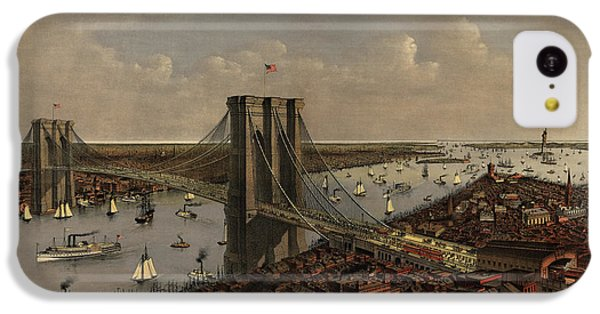 Antique Birds Eye View Of The Brooklyn Bridge And New York City By Currier And Ives - 1885 IPhone 5c Case by Blue Monocle