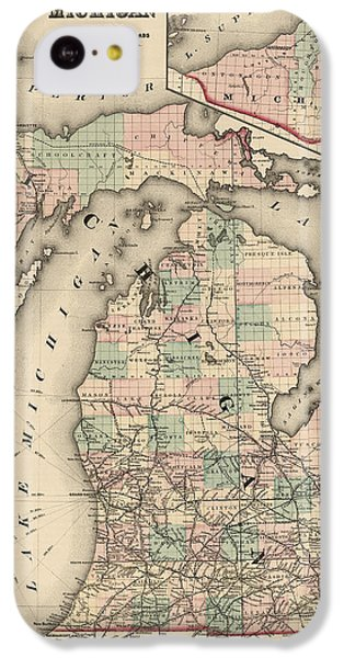 Antique Railroad Map Of Michigan By Colton And Co. - 1876 IPhone 5c Case by Blue Monocle