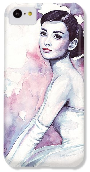 Audrey Hepburn Purple Watercolor Portrait IPhone 5c Case by Olga Shvartsur