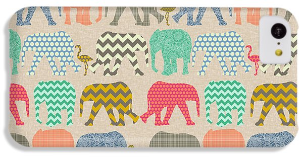 Baby Elephants And Flamingos Linen IPhone 5c Case by Sharon Turner