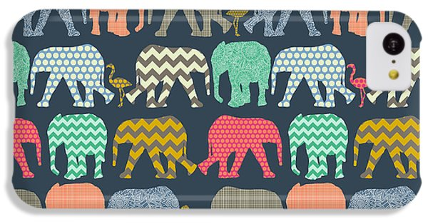 Baby Elephants And Flamingos IPhone 5c Case by Sharon Turner