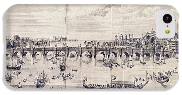 Barges At Westminster Bridge IPhone 5c Case by Library Of Congress