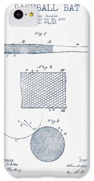 Baseball Bat Patent Drawing From 1904 - Blue Ink IPhone 5c Case by Aged Pixel