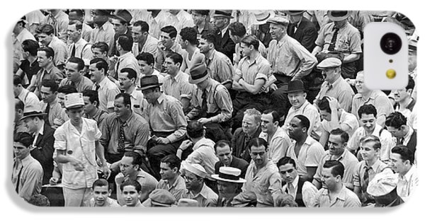 Baseball Fans In The Bleachers At Yankee Stadium. IPhone 5c Case by Underwood Archives